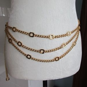 St. John 22K Gold Plated Chain Link Belt 3 Strands